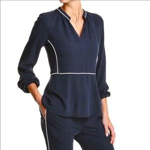 Joe Fresh midnight blue Blouse with white piping '